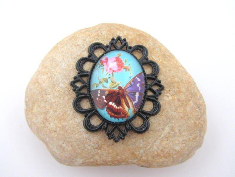 oval pendant Black pendant,cabochon pendant jewelry making cameo glass pendant,butterfly,butterfly pendant