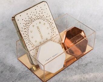 Eyeshadow Palette Makeup Organiser Vanity Shelf in Luxe Gold Acrylic