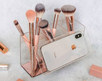 Rose Gold Makeup Brush Holder with Phone Stand