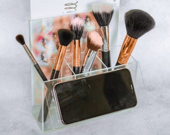 Acrylic Makeup Brush Holder & Eyeshadow Palette Organiser with Phone Stand