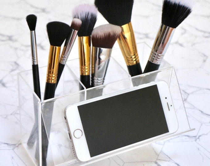 Featured listing image: Acrylic Makeup Brush Holder with Phone Stand