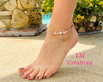 Ankle bracelet, made of black cork, pink, natural, purple, and European pearls, birthday, 18 years, 21 years, graduation 2021