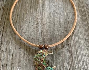 Collar, cork, tree of life pendant, on moon quarter, natural shells