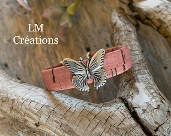 Pink cork bracelet, trimmed with a butterfly, heart, butterfly, for children, girls, teenager, women