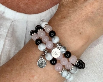 'Life' bracelets, made of pink quartz, howlite, obsidian or tourmalines, 'Seed of Life' charm, support for women