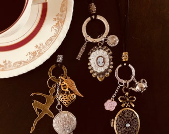 These filigree charms and Locket with adjustable cord necklaces