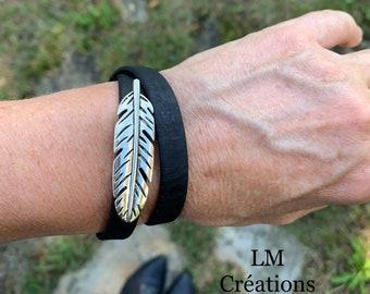 Multi-turn vegan bracelet, natural cork ribbon, jeans, black, feather, teacher, angel feather