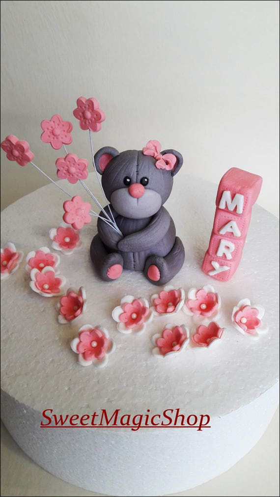 Bear Cake Topper Personalized Name Baby Shower Gift Animal Etsy