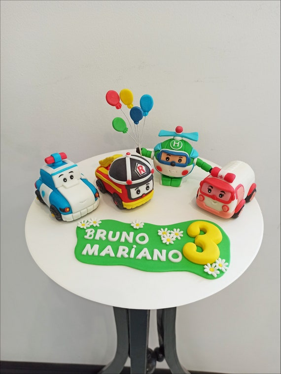 Roy Robocar Birthday Cake Toppers Articles Robocar Poli Amber Etsy