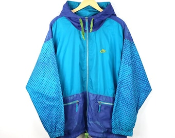 0a0713cd85db Rare Vintage 90s NIKE Windbreaker Colorway Multi Color Block Shell Spary  Jacket