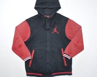 Rare Vintage 90s JORDAN NIKE Windbreaker Hoodie Varsity Jacket / Retro NIKE Air Jordan Jumpman Multi Color Block Jumper hoodie Red Black