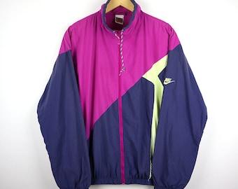 a6af766a436b18 90s NIKE Windbreaker Vintage Jacket Shell Spray Colorway Multi Color Block  Purple Pink Neon Rare Jacket Retro Old school Streetwear Hip Hop