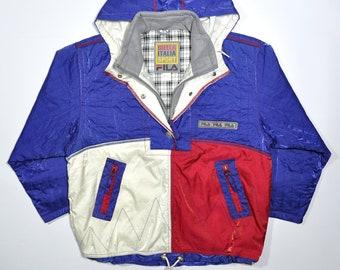 ab64e7ddd064 Vintage 90s FILA SNOW GEAR Winter Puffer Hoodie Jacket / Biella Italia  Sport Fila Windbreaker / Fila Streetwear Outdoor Coat Padding Parka
