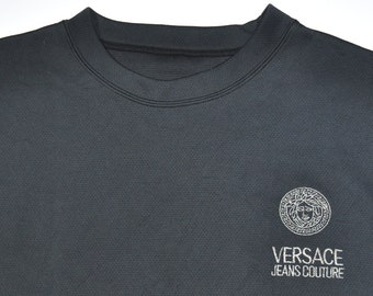 01a7b82506 Vintage 80s 90s VERSACE JEANS COUTORE Black Long Sleeve Shirt Pullover  Jumper Embroidered Versace Logo High Fashion Hypebeast Grail
