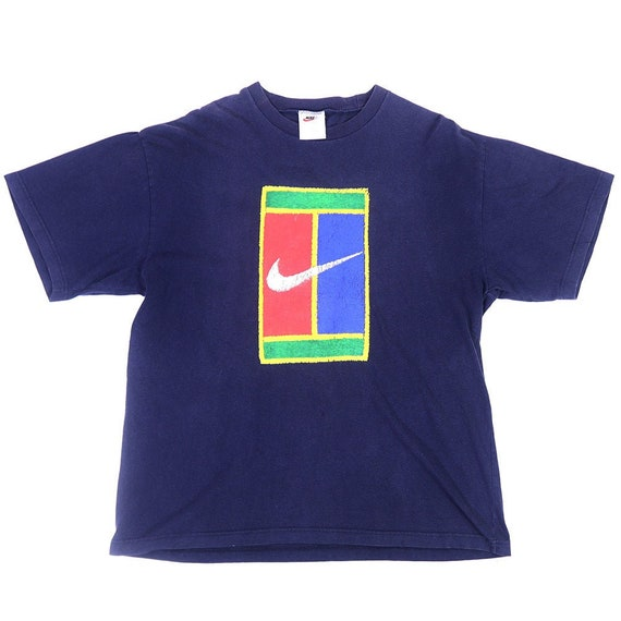 Vintage 90s NIKE Tennis T-Shirt Color Blue Navy NI