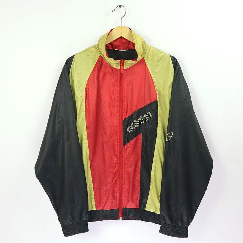 Rare ADIDAS Vintage 80s 90s ADIDAS Shell Spray TrackTop Jacket Retro ADIDAS Windbreaker Belgium Colorway Multi Color Block Adidas Streetwear