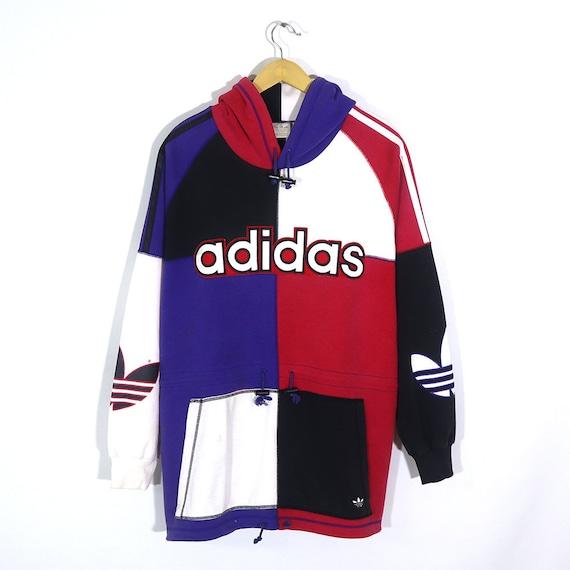 Vintage 90s ADIDAS Hoodie Purple Red Black White A