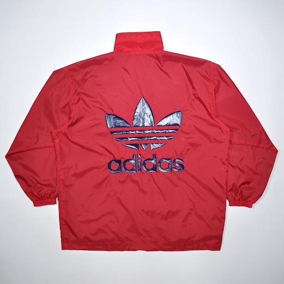 Rare Vintage 80s 90s ADIDAS Windbreaker Coach Rain Jacket Old School ADIDAS Track Shell Jacket Block Color Adidas Big Logo Trefoil