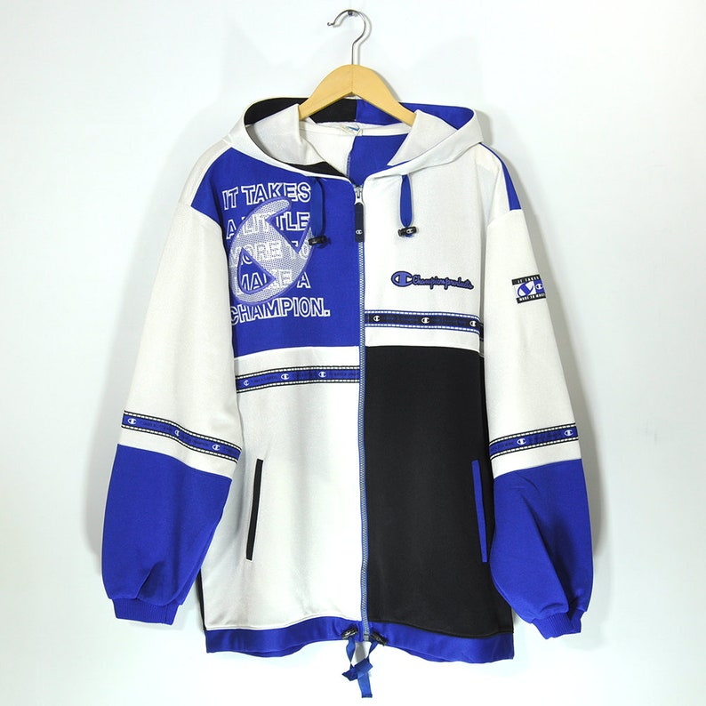 Rare Vintage 90s CHAMPION Zip Hoodie Pullover Jumper Windbreaker Jacket Color Block Hip Hop Streetwear Big Logo Champion Script Old School
