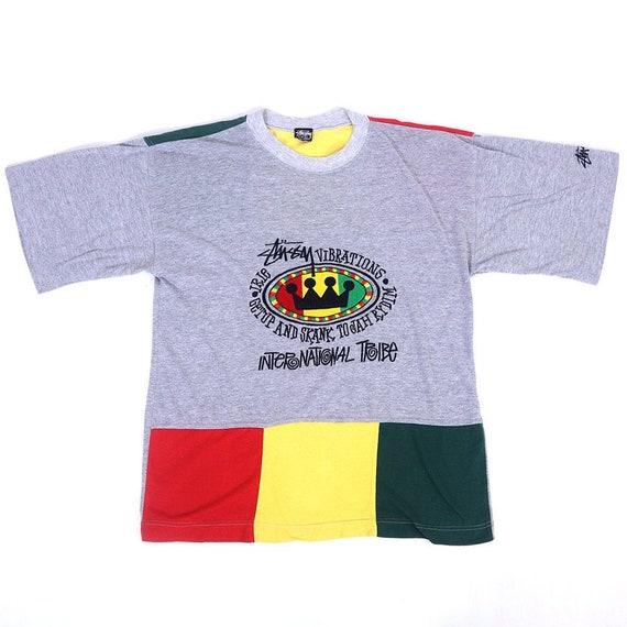 Vintage 90s STUSSY VIBRATIONS T-Shirt Hip Hop Retr
