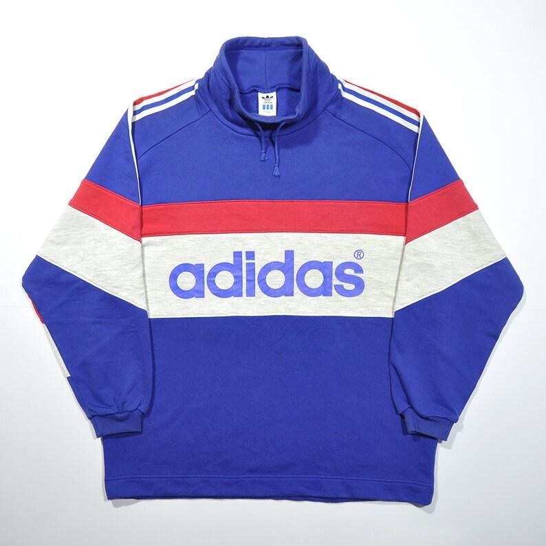 fcaee8afaf4 Vintage 80s 90s ADIDAS Pullover Rugby Jumper   ADIDAS Big Logo