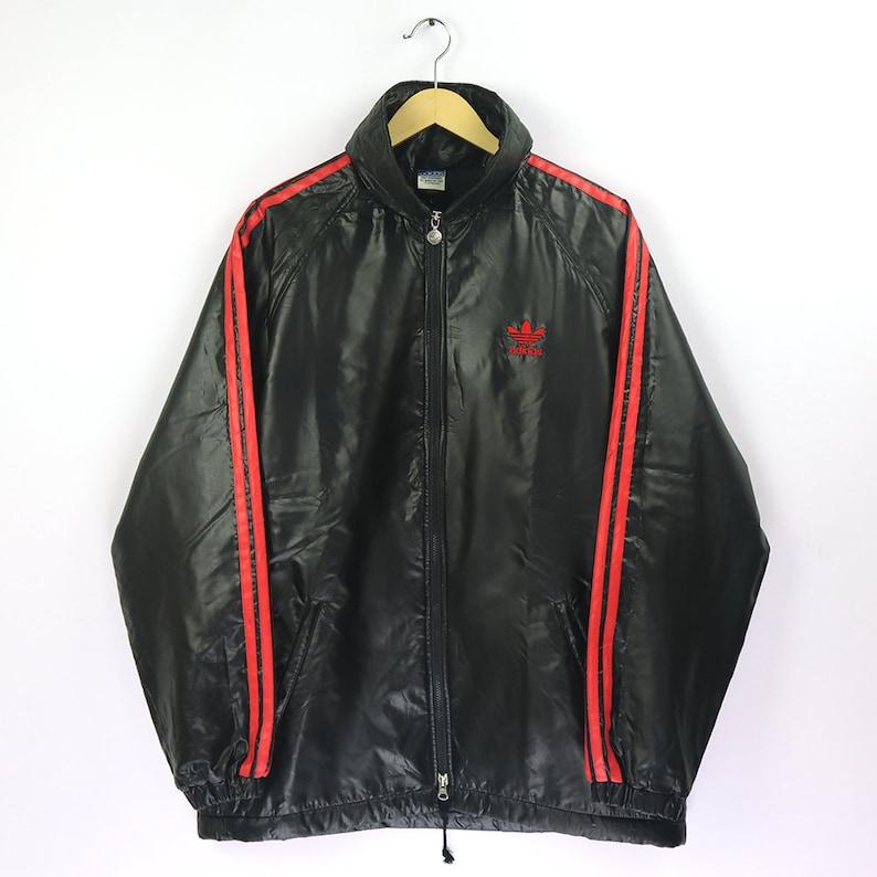 Adidas Vintage 90s ADIDAS Windbreaker Black Color Block Jacket ADIDAS Track Jacket Old School Raincoat Hidden Hoodie Streetwear Coach Jacket