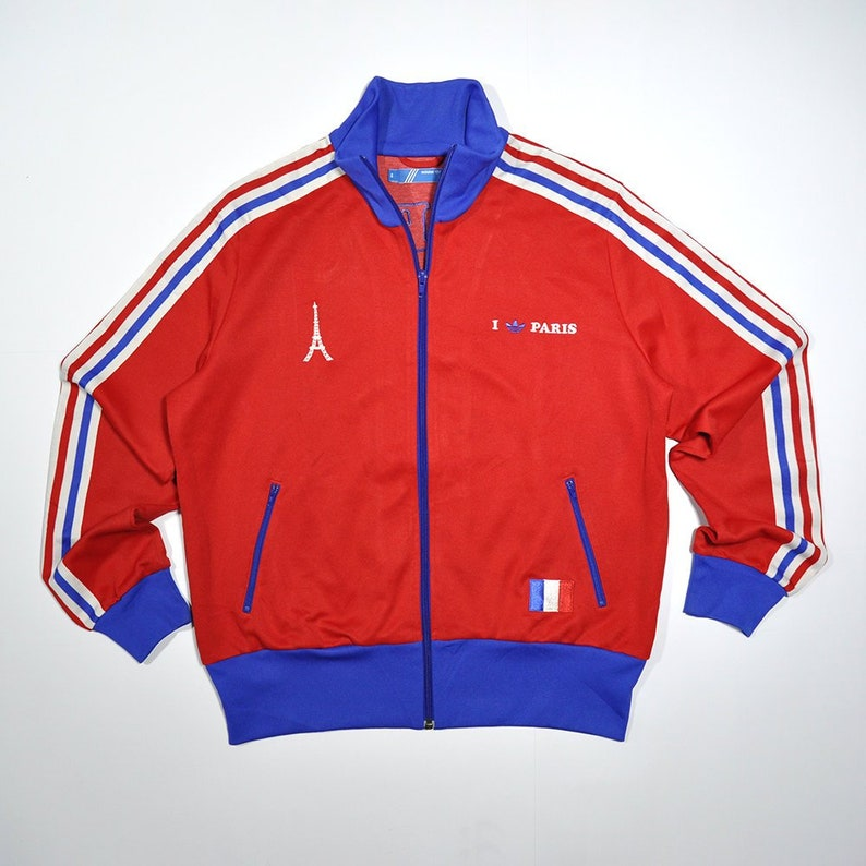 info for e298f 0d9c3 Vintage 80s 90s PARIS LOVE ADIDAS France Track Top Jacket   Etsy