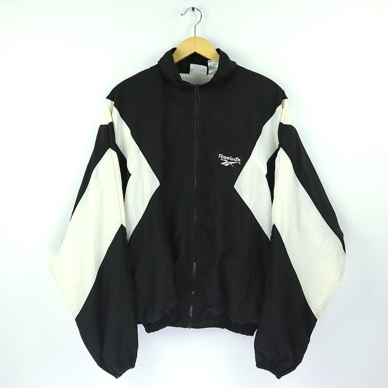 90eade39801d1 Vintage 90s REEBOK Windbreaker / REEBOK Shell Spray Hip Hop Jacket / Retro  REEBOK Old school Jacket / Reebok Color Block Black White Large