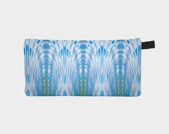 "Pencil Bag, Pen Case, Makeup Bag, Coin pouch, ""Blue Feathers, Made to order"""