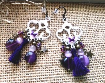 Pink and purple Bohemian earrings
