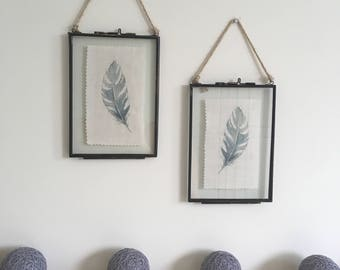 Peony &Sage Feather picture in vintage metal frame