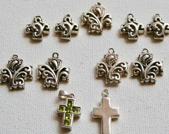 Pendants - Sterling Silver Crosses 12-19mm - 11 pieces