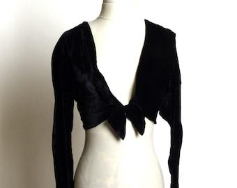 c7e2dd2a9b Little Black Vintage Velvet Shrug Sweater