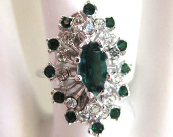 18K Heavy White Gold Electroplate Faux Emerald and Rhinestone Vintage Ring