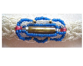 Glass Seed Bead Bracelet in Clear and Blue Shades
