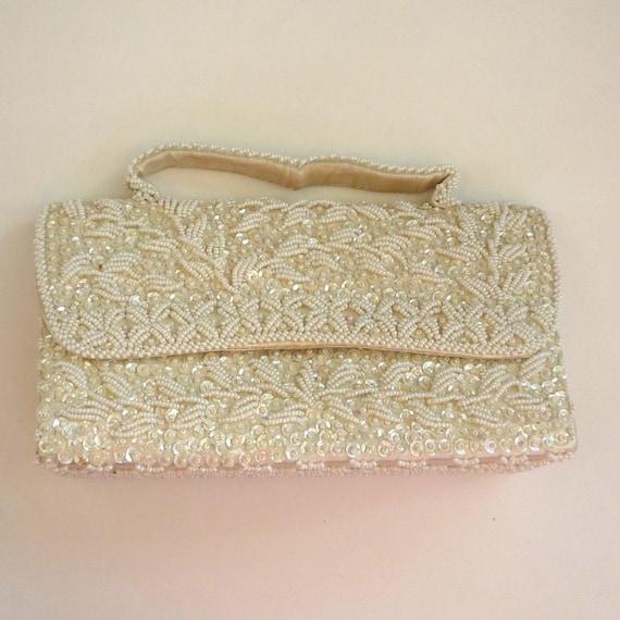 Circa 1950s DuBarry White Beaded Purse/Handbag