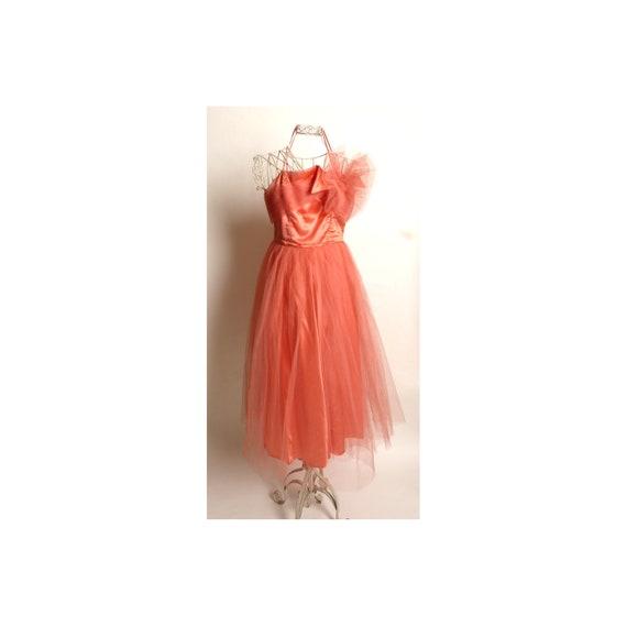 Circa 1950s Emma Domb Coral Party Dress