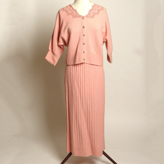 Circa 1950s Jernat Pale Pink Wool Sweater/Skirt Se