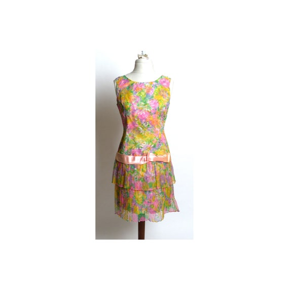 Circa 1980s Custom-Made Floral Mini Dress