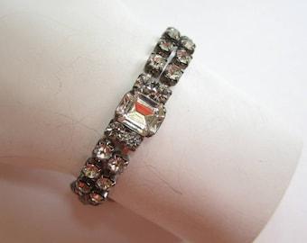 Double-Row Sparkling Rhinestone Bracelet