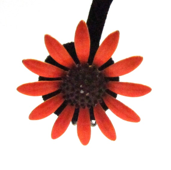 Circa 1960s Bright Orange Daisy Earrings