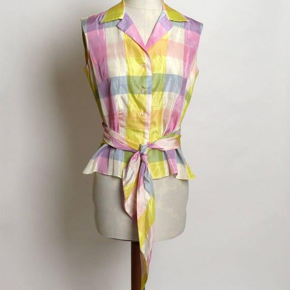 Circa 1950s Alex Colman Plaid Pastel Tie Blouse/To