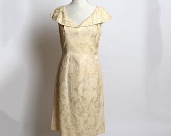Vintage Late 1950s/Early 1960s Lilli Diamond of California Cream Ivory Silk Brocade Dress