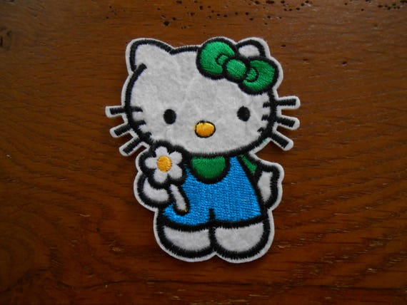 Applique badge patch hello kittychat and his bow deco etsy