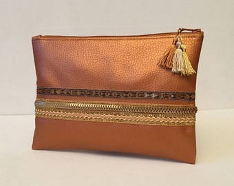 Clutch faux leatherette, make-up, organizer bag, ethnic Ribbon, chic, practical, accessory for women, gold, copper