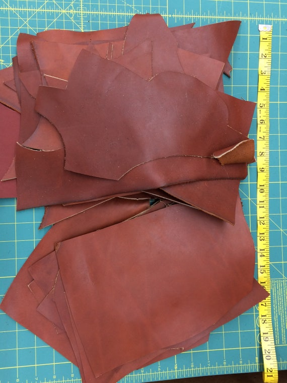 Sven Leather 5 pounds Saddle Brown Color Smooth Leather Scrap Leather