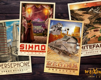 Firefly Travel Poster Build-A-Bundle (WuXing Travel Agency series) • Persephone / Whitefall / Sihnon / Regina • Traveling the 'Verse