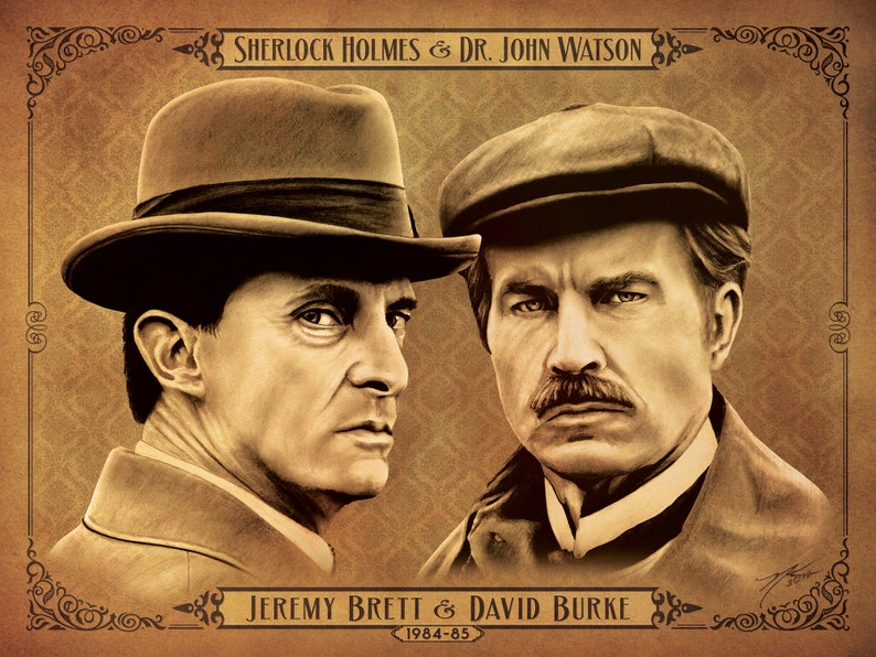 Sherlock Holmes And Dr Watson Jeremy Brett David Burke 16 X 12 Poster Hand Drawn Custom Art Limited Giclee Print Run Of 25