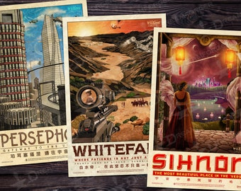 Firefly Travel Poster Build-A-Bundle (WuXing Travel Agency series) • Persephone / Whitefall / Sihnon • Traveling the 'Verse • Now in 2 sizes