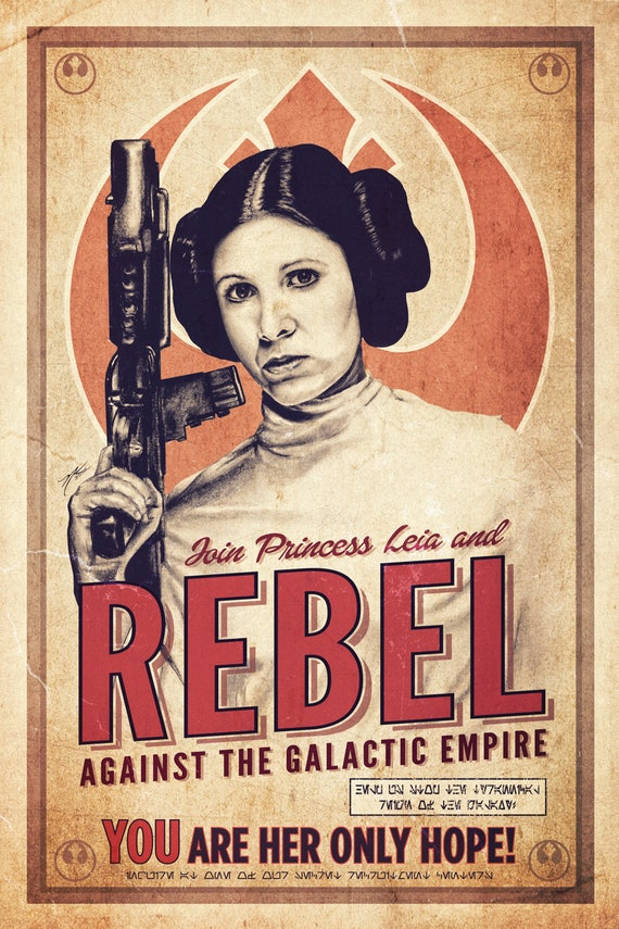 Star Wars Princess Leia Rebel Recruitment Poster 12 X 18 Hand Etsy